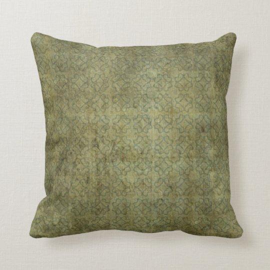 Grungy Moss Green Pattern Cushion