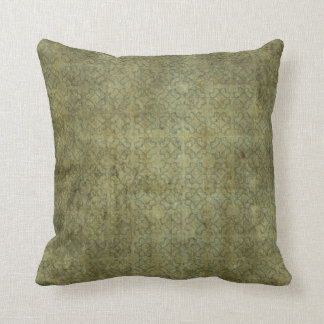 Grungy Moss Green Pattern Throw Pillow