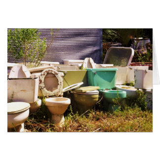 Grungy old Toilets in a Row Greeting Cards