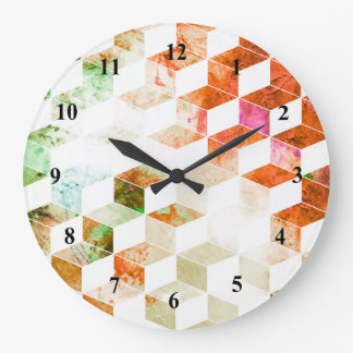 Grungy Orange/Green Geometric Box Pattern Wallclock