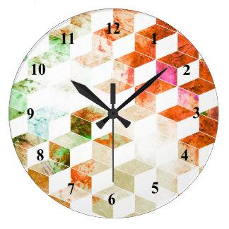 Grungy Orange/Green Geometric Box Pattern Wallclock