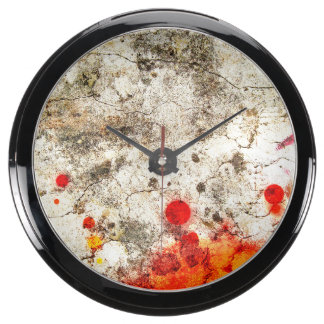 Grungy Orange & White Abstract Art Aquavista Clock