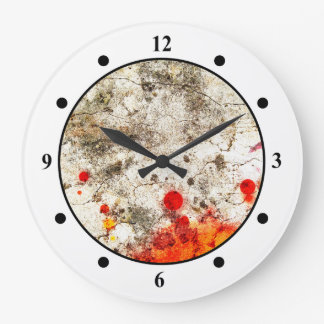 Grungy Orange & White Abstract Art Clock