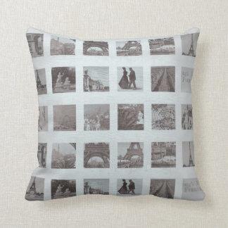 Grungy Paris Collage Gray Eiffel Tower Cushion