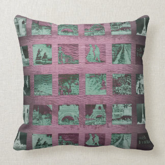 Grungy Paris Collage Pink Green Eiffel Tower Cushion