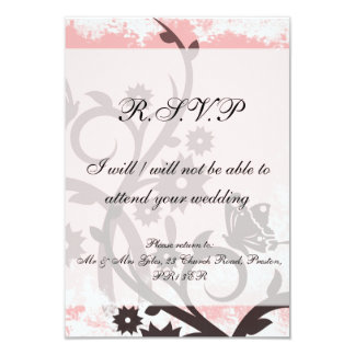 Grungy Pink Floral and Butterfly RSVP Card