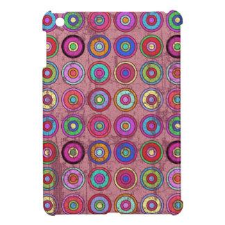 Grungy Pink Retro Circle Pattern iPad Mini Covers