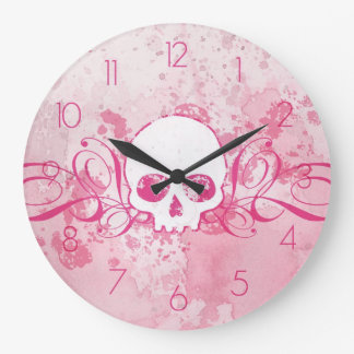 Grungy Pink Skull With Swirls Wall Clocks