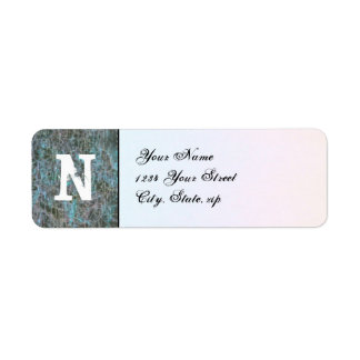 Grungy Pixels monogram label Return Address Label