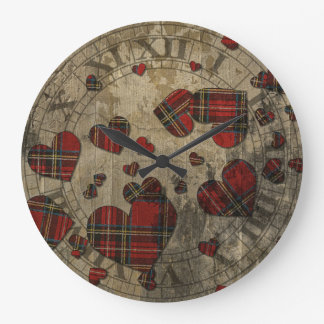 Grungy Plaid Hearts Round Clock
