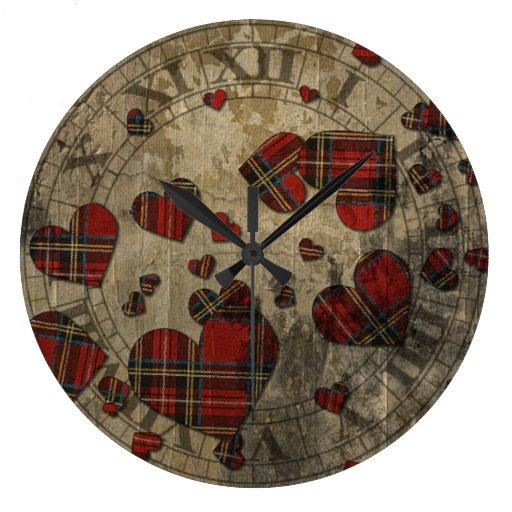 Grungy Plaid Hearts Round Clock