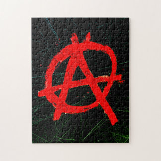 Grungy Red Anarchy Symbol Puzzles