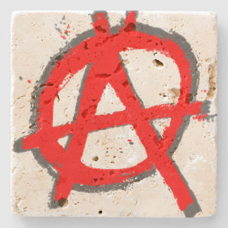 Grungy Red Anarchy Symbol with Monogram Stone Coaster