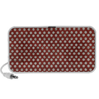 Grungy Red and White Polka Dots iPod Speaker