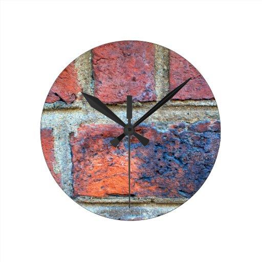 Grungy Red Brick Wall Clock