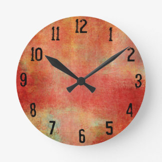 Grungy Red Paint Collage Round Clock