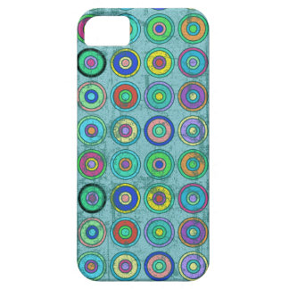 Grungy Retro Blue Circle Pattern Barely There iPhone 5 Case