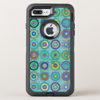 Grungy Retro Blue Circle Pattern OtterBox Defender iPhone 8 Plus/7 Plus Case