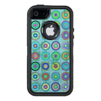 Grungy Retro Blue Circle Pattern OtterBox iPhone 5/5s/SE Case