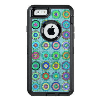 Grungy Retro Blue Circle Pattern OtterBox iPhone 6/6s Case