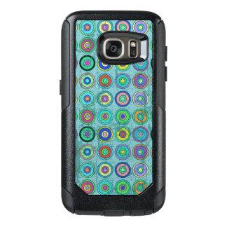 Grungy Retro Blue Circle Pattern OtterBox Samsung Galaxy S7 Case