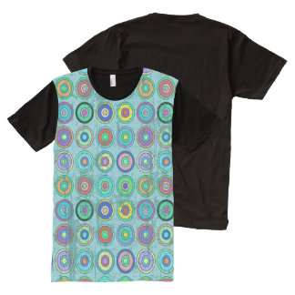 Grungy Retro Circle Pattern Blue All-Over Print T-Shirt