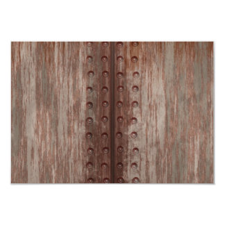 Grungy Riveted Rusty Metal 9 Cm X 13 Cm Invitation Card