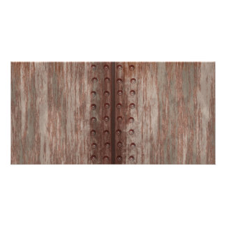 Grungy Riveted Rusty Metal Photo Card Template