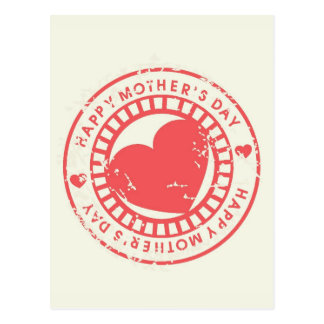 Grungy Rubber Stamp for Happy Mother s Day Post Card