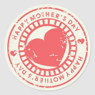 Grungy Rubber Stamp for Happy Mother's Day Round Sticker