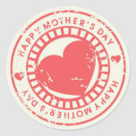 Grungy Rubber Stamp for Happy Mother's Day Round Stickers