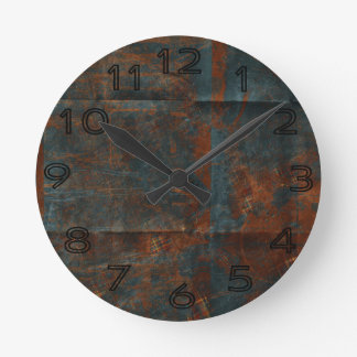Grungy Rusty Blue Cloth Background Round Wall Clocks