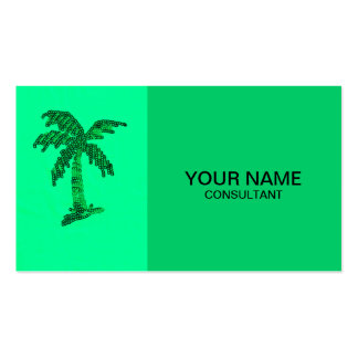 Grungy Sequined Palm Tree Image Business Card Template