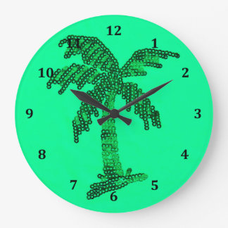 Grungy Sequined Palm Tree Image Clock