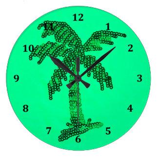Grungy Sequined Palm Tree Image Wallclocks