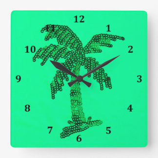 Grungy Sequined Palm Tree Image Square Wallclock