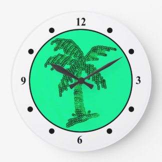 Grungy Sequined Palm Tree Image Clocks