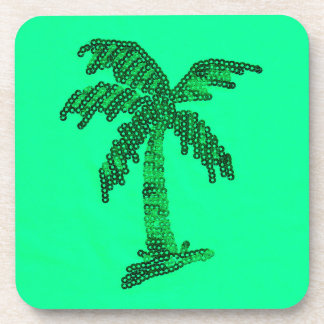 Grungy Sequined Palm Tree Image Drink Coasters