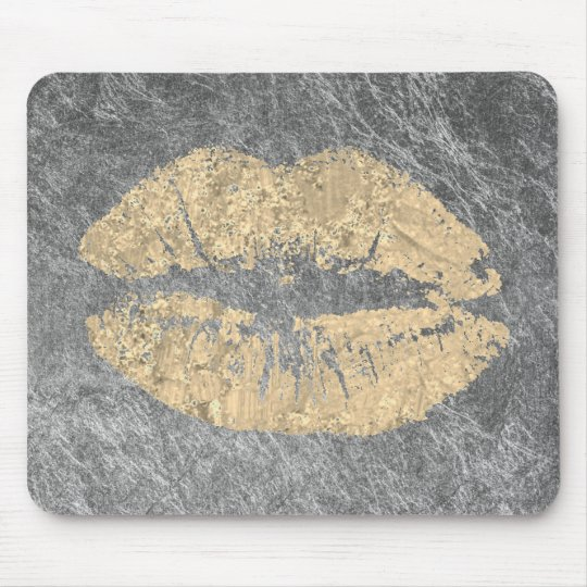 Grungy Silver Gray Gold Makeup Beauty Lips Kiss