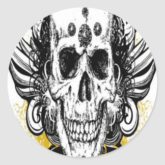 Grungy skull design round sticker