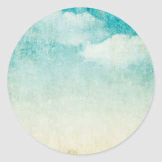 Grungy Sky Clouds Rustic Vintage Blue Skies Round Sticker