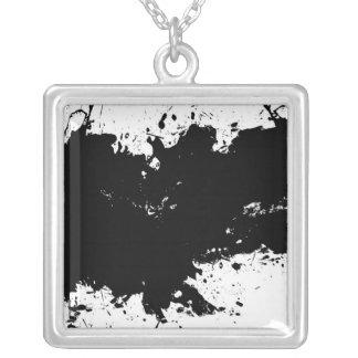 Grungy Splattered Ink Background Square Pendant Necklace