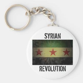 """Grungy Syria Flag """"Syrian Revolution"""" Basic Round Button Key Ring"""