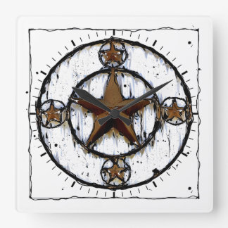 GRUNGY TEXAS STAR SQUARE WALL CLOCK