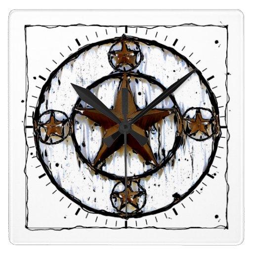 GRUNGY TEXAS STAR SQUARE WALL CLOCK