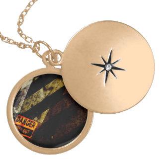 Grungy Tough Textured Round Locket Necklace