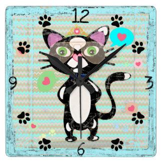 Grungy Tuxedo Cat Wall Clock