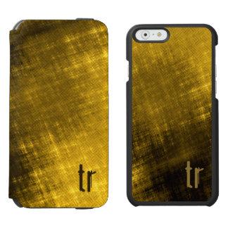 Grungy Tweed Black Gold Men's monogram Incipio Watson™ iPhone 6 Wallet Case