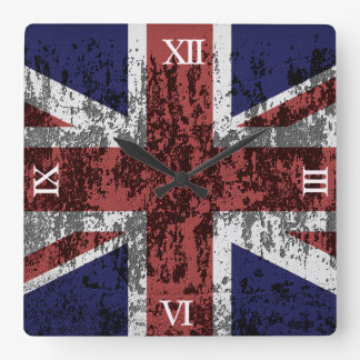 Grungy Union Jack Flag Square Wall Clock