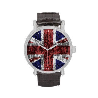 Grungy Union Jack Flag Watches